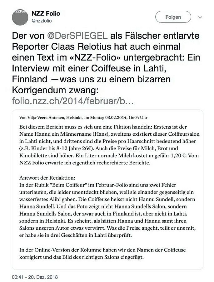 SPIEGEL 52/2018 Relotius / Twitter NZZ Folio