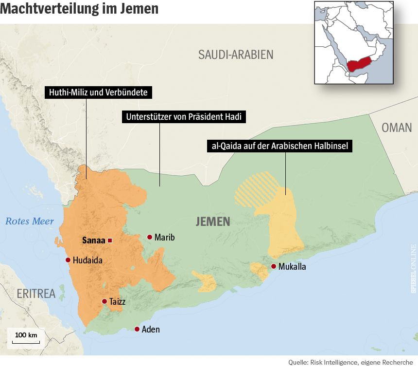 Grafik Karte Jemen Machtverteilung
