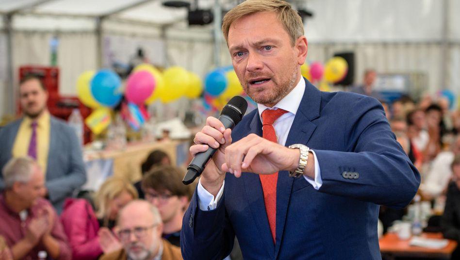 FDP-Chef Christian Lindner bei einer Veranstaltung in Bayern am 4. September