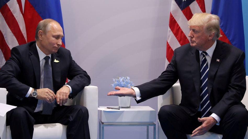 Gesprächspartner Wladimir Putin, Donald Trump (beim G20-Gipfel in Hamburg 2017)