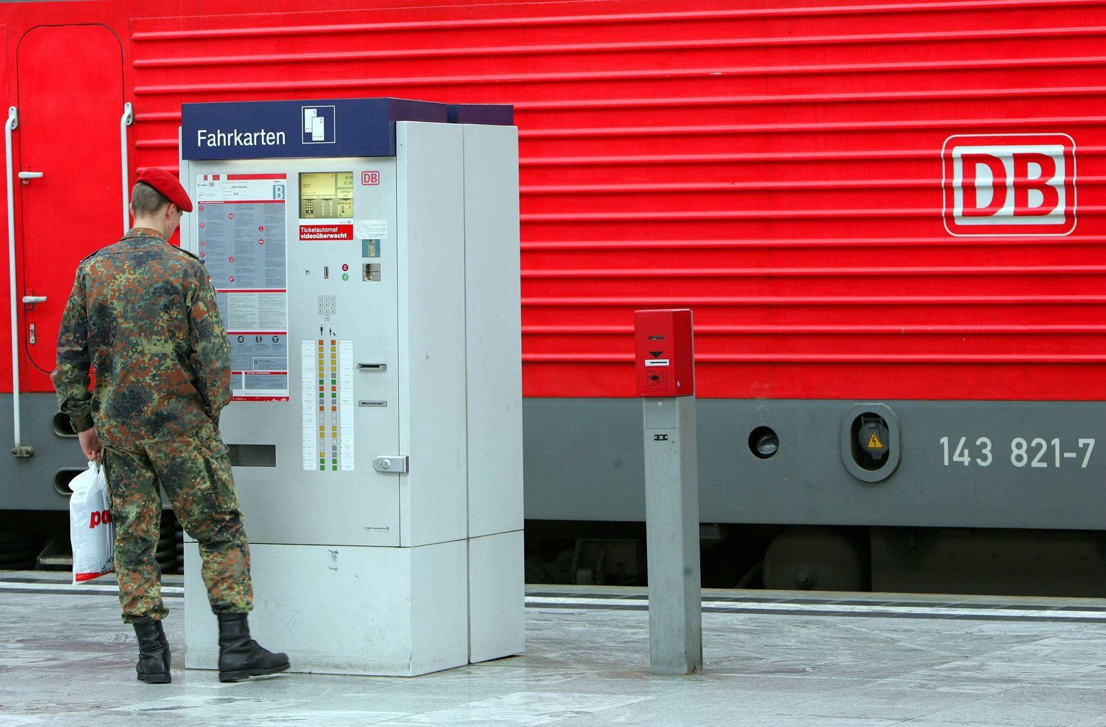 EINMALIGE VERWENDUNG Bundeswehr/ Deutsche Bahn/ Fahrkarten