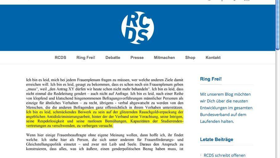 Gefundenes Fressen: RCDS veröffentlichte das Schreiben der ehemaligen fzs-Beauftragten