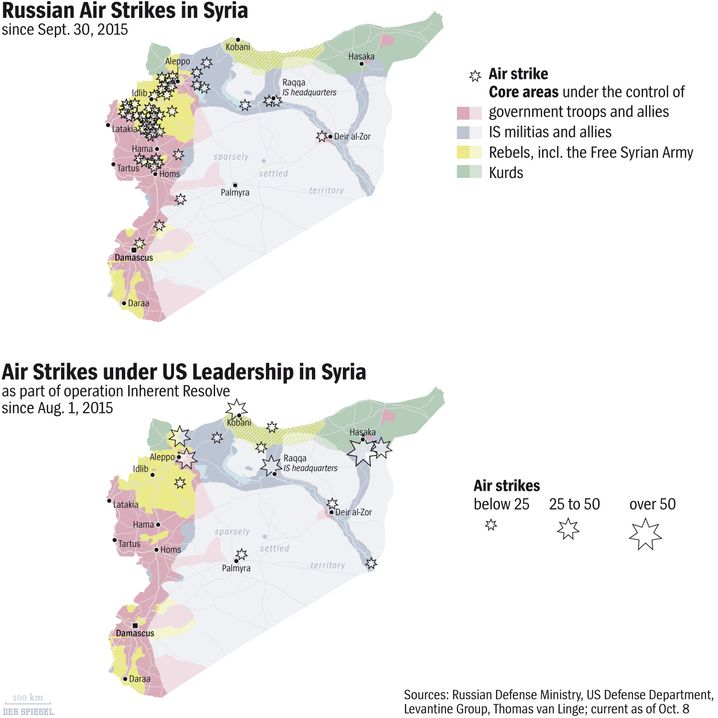 Map: Russian Airstrikes in Syria