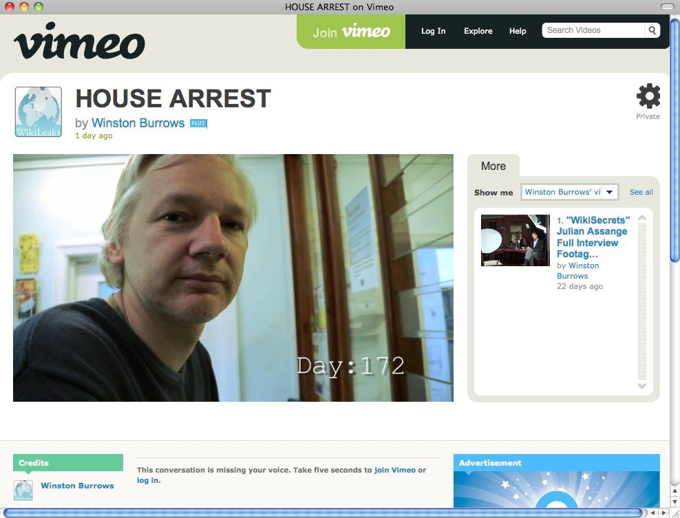 EINMALIGE VERWENDUNG SCREENSHOT Assange / Hausarrest
