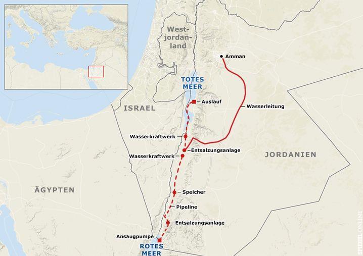 So soll der Kanal verlaufen: Eine Leitung bringt sauberes Wasser nach Amman