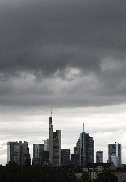 Frankfurt skyline: German banks are hoarding money at the expense of their customers.