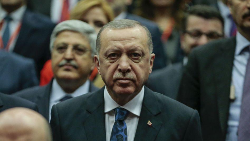 Staatschef Erdoğan auf einer Parteiveranstaltung in Ankara