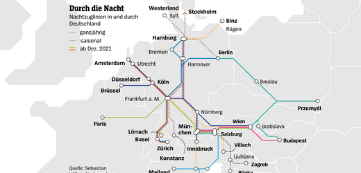 Nachtzug-Reisen in Europa - Karte: Alle Strecken mit Anschluss in Deutschland