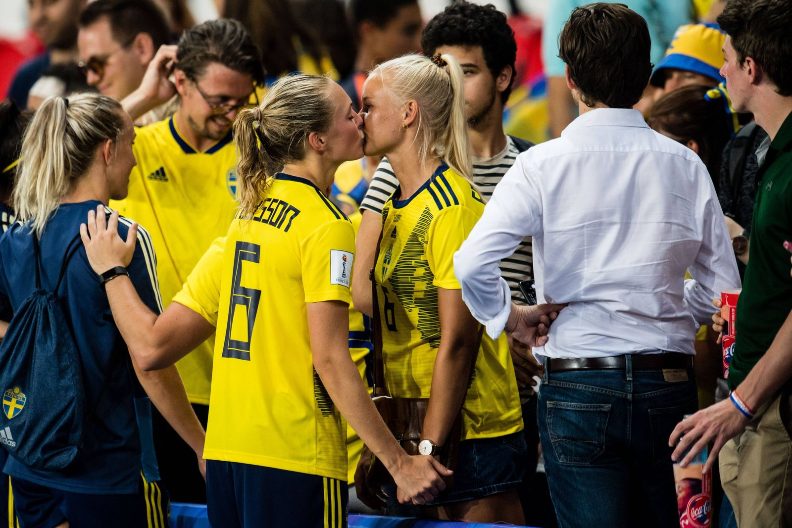 190624 Magdalena Eriksson of Sweden and her girlfriend Pernille Harder celebrates winning during th