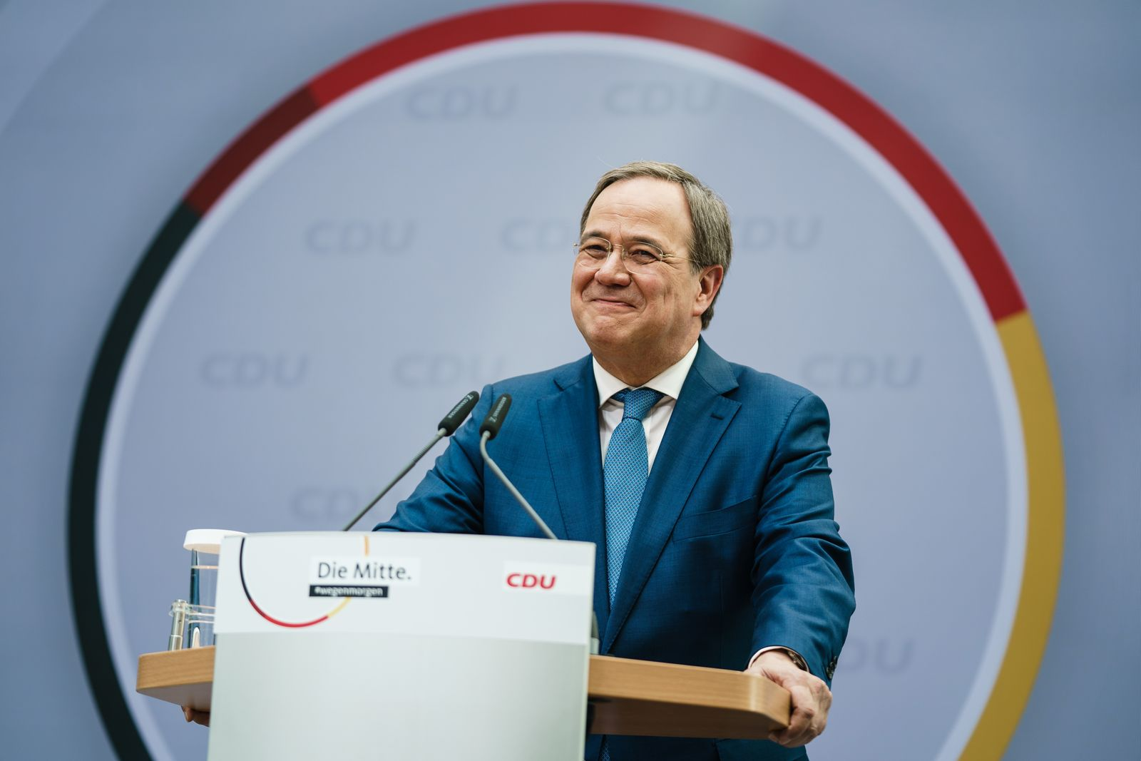 CDU press conference after board meetings following regional state elections in Saxony-Anhalt