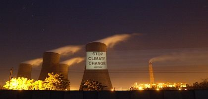 "A Greenpeace protest in India: ""Stop Climate Change"""