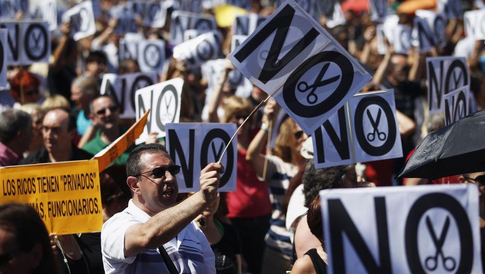 Spanish civil servants protesting against austerity measures.