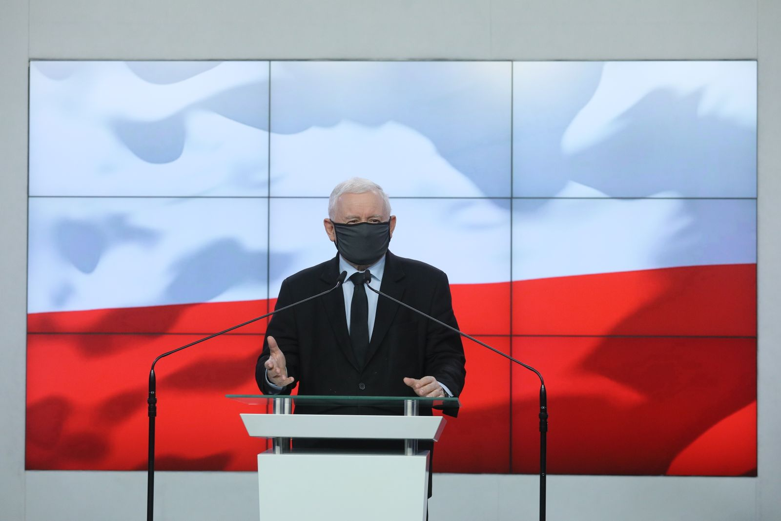 Leader of the Polish Law and Justice rulling party Jaroslaw Kaczynski press conference