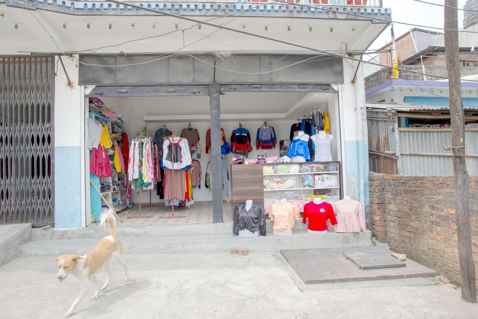 The garment shop.