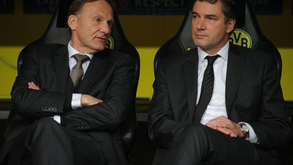 BVB-Boss Watzke (l.), Sportdirektor Zorc: Angeblich noch kein Angebot für Lewandowski