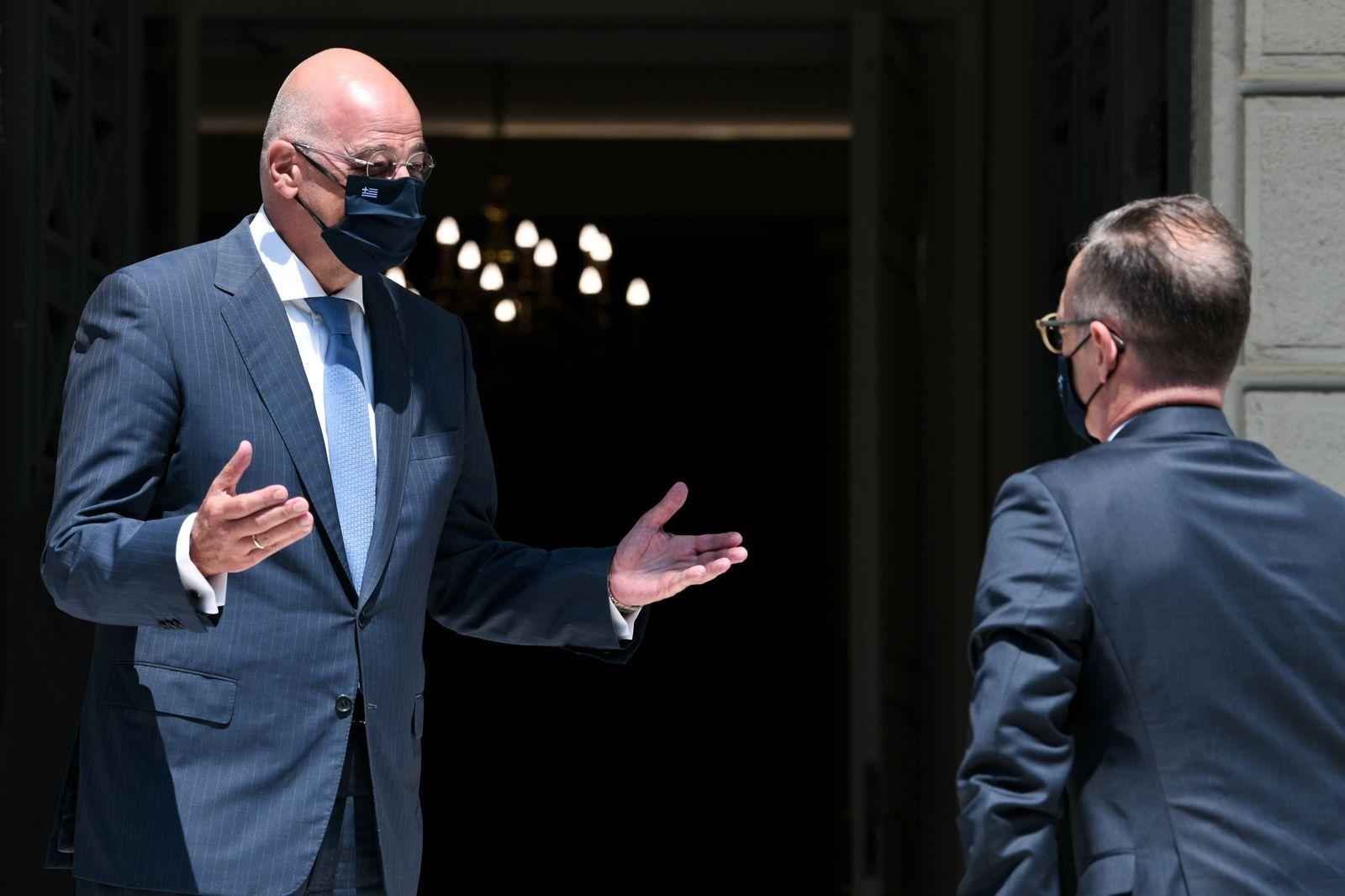 Heiko Maas, Bundesaußenminister der Bundesrepublik Deutschland, und sein griechischer Amtskollege Nikos Dendias treffen