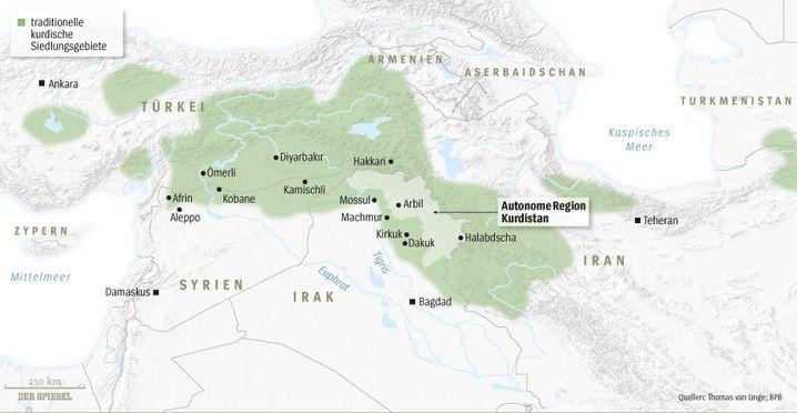 Kurdengebiete in Syrien, Irak und Iran