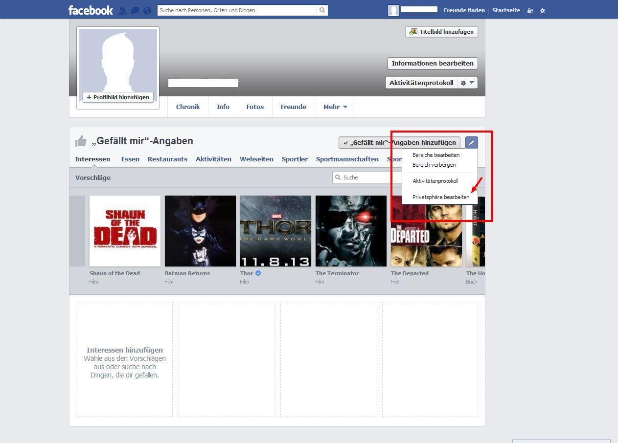 SCREENSHOT 05 Facebook/ Likes bearbeiten