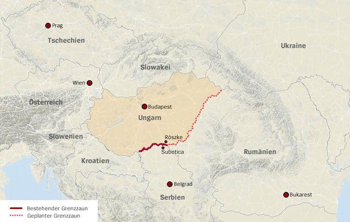 Verlauf des Grenzzauns in Ungarn