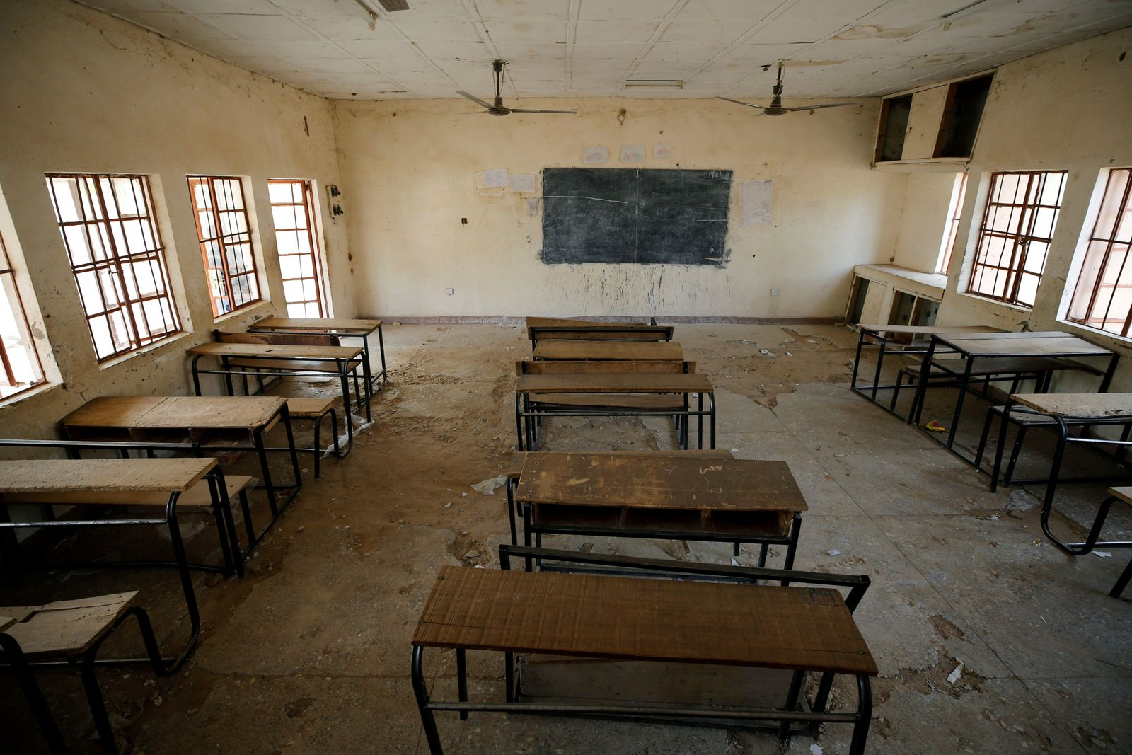 FILE PHOTO: A view shows an empty classroom at the school in Dapchi in the northeastern state of Yobe, where dozens of school girls went missing after an attack on the village by Boko Haram