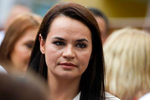 Swetlana Tichanowskaja im August nach ihrer Stimmabgabe