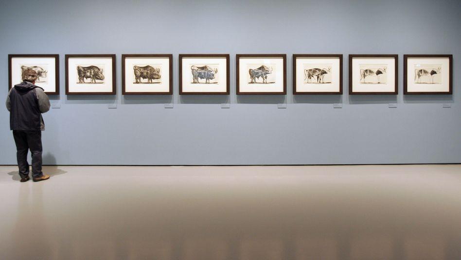 """Museumsbesucher vor Picassos """"Stier"""": Konzentration auf das Wesentliche"""