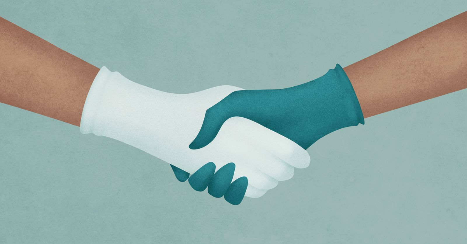 Handshake With Blue And White Medical Gloves. Healthcare Concept.