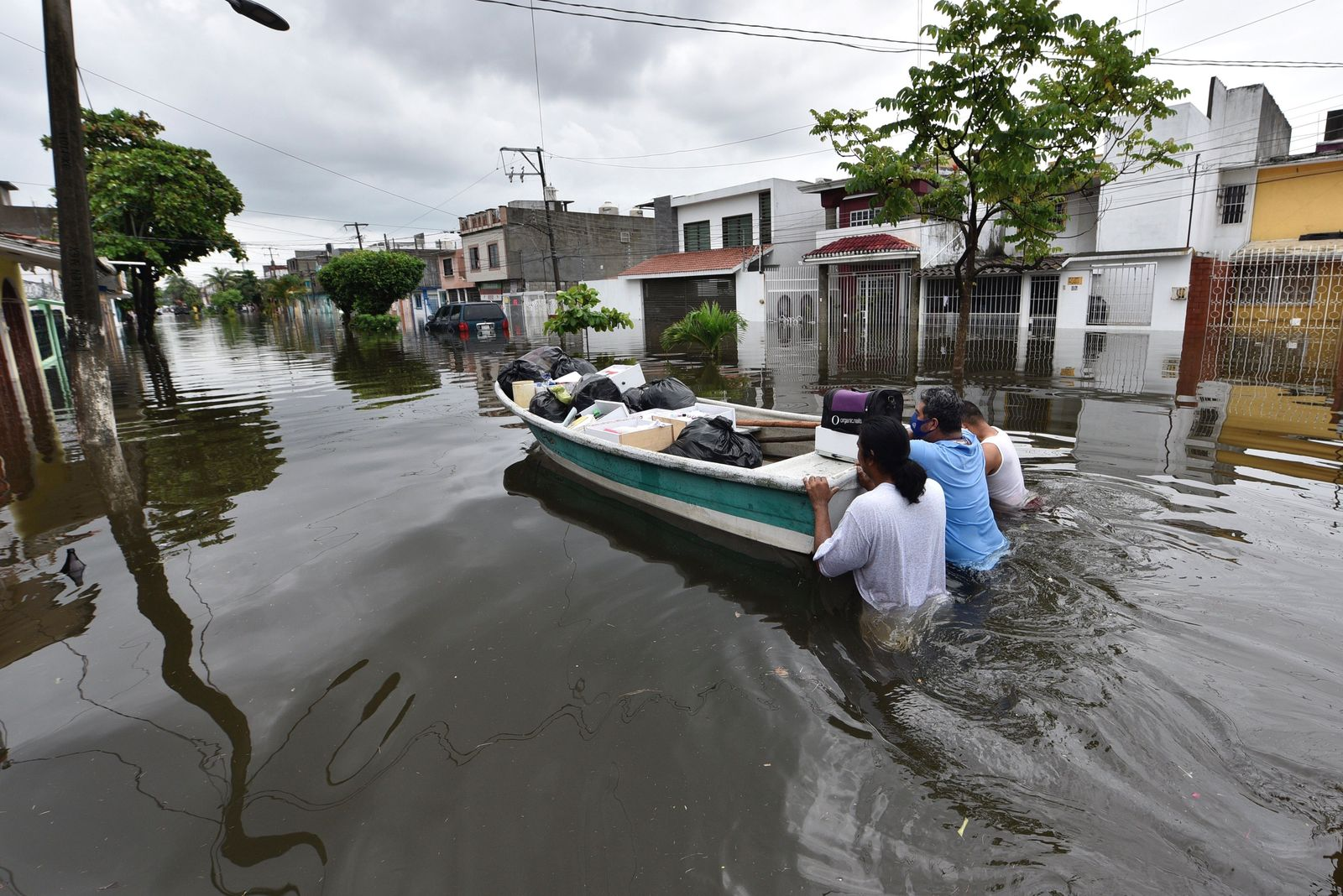 Tropical Storm Gamma causes heavy flooding in Southeast Mexico, Ncajuca - 03 Oct 2020