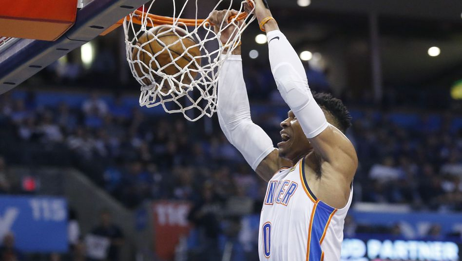 Russell Westbrook im Trikot von Oklahoma City Thunder