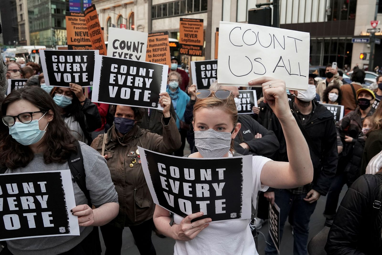 """People attend a """"Count Every Vote"""" rally the day after the U.S. election in New York City"""