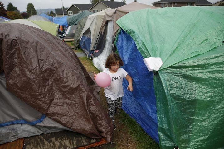 Kein Ort für Kinder: Zeltstadt am Rande von Seattle