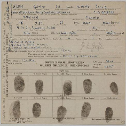 US-Army Formular: Fingerabdrücke des Kriegsgefangenen