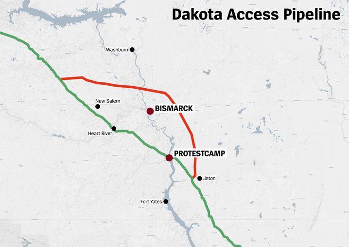 Geplanter Pipeline-Verlauf (grün) und die Alternativ-Route (rot)
