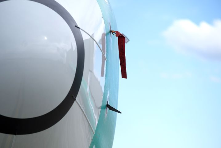 One of two sensors that measures the angle of attack is pictured at bottom on a Boeing 737 MAX 8 airplane outside the company's factory: Boeing appears to have ignored the vital rule of redundancy.