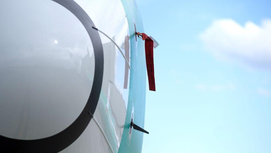 Unten im Bild: Einer der beiden Sensoren an einer Boeing 737 Max 8