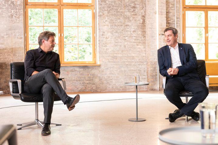 Robert Habeck und Markus Söder (beim TV-Duell von SPIEGEL, »VICE« und T-Online)
