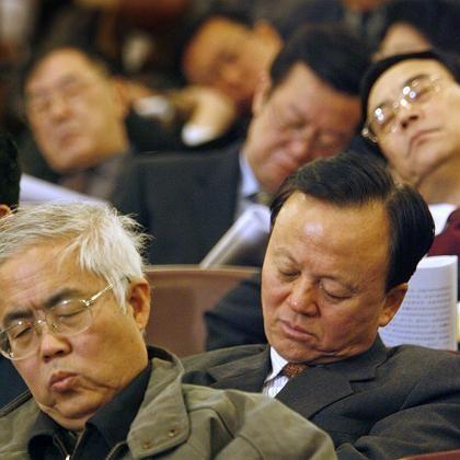 Kleines Schläfchen: Delegierte während der Eröffnungsrede Wen Jiabaos