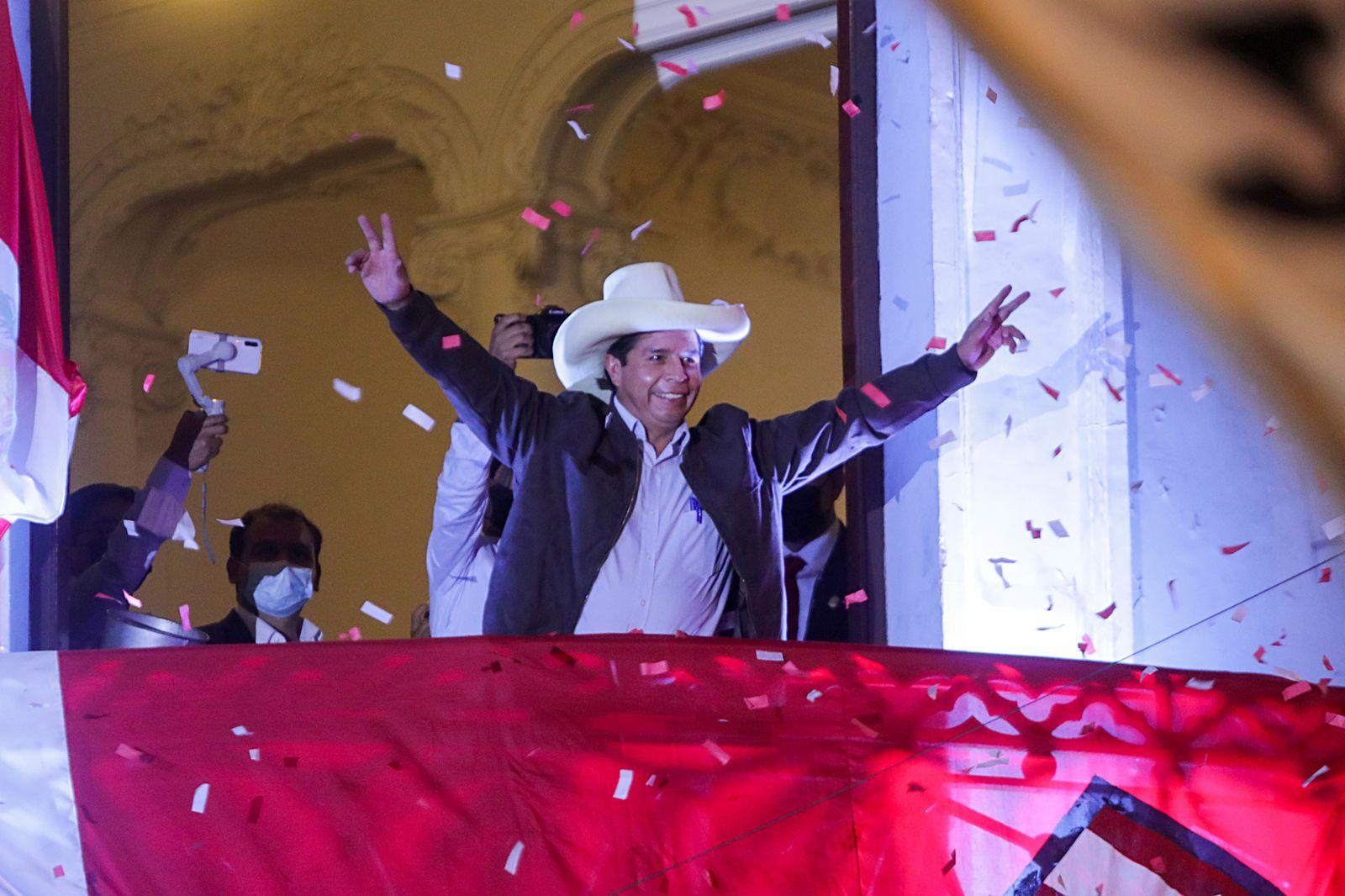 Peru's presidential candidate Pedro Castillo addresses supporters in Lima