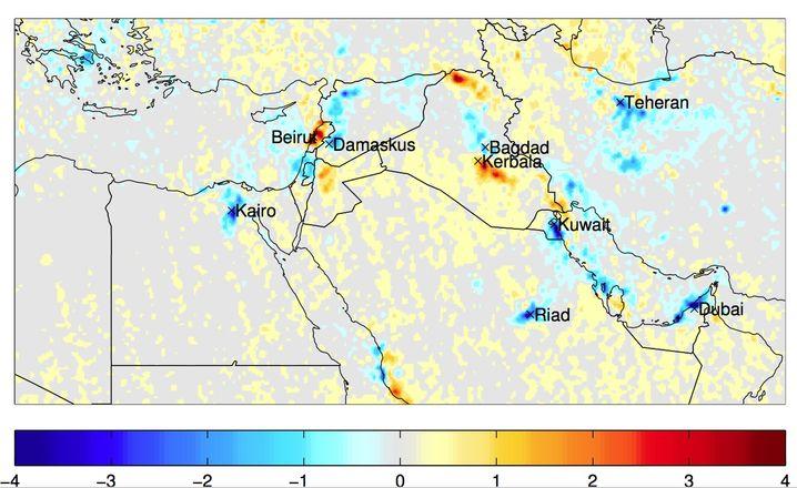 Zwischen 2010 und 2014 sank der Stickstoffausstoß der Region deutlich im Vergleich zu den Jahren davor (siehe Karte oben). Die Farben geben die Änderungen der Konzentration in 10 hoch 15 Molekülen pro Quadratzentimeter Luft an.