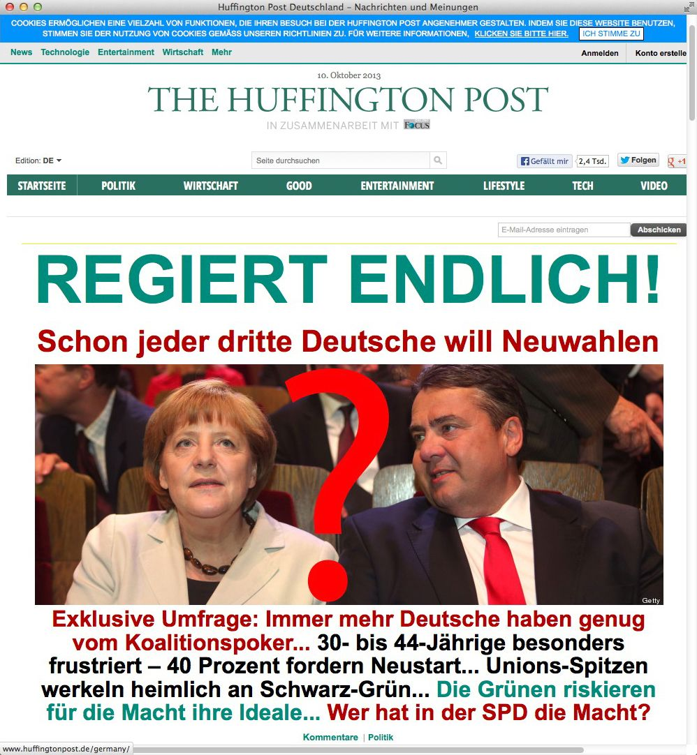 NUR ALS ZITAT Screenshot The Huffington Post