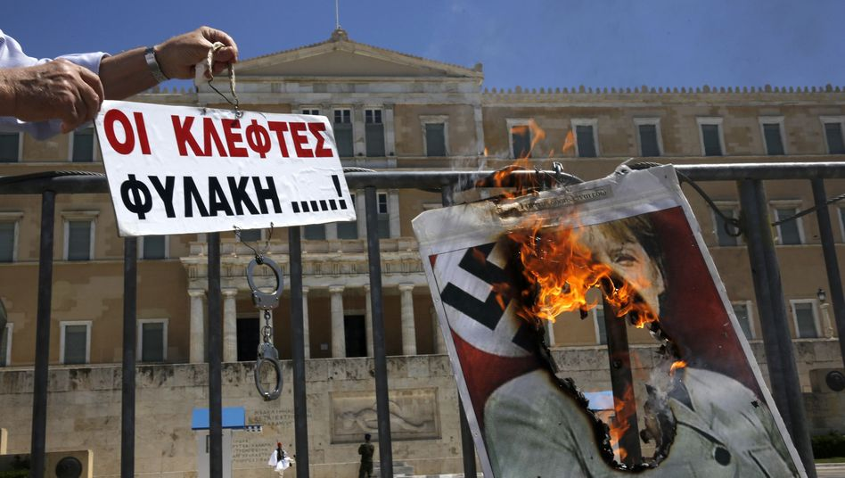 Antideutscher Protest in Athen (Archivbild): Harsche Symbolik