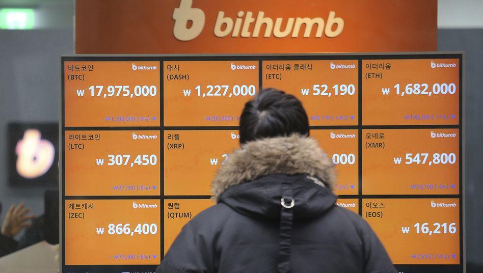 Bitcoin-Preise in Südkorea
