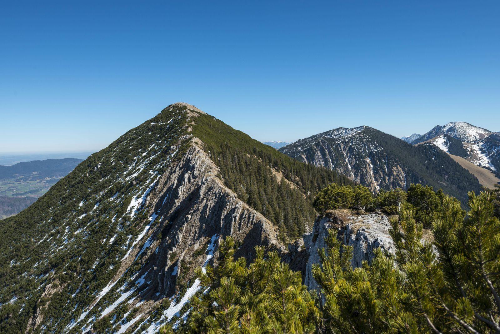 Grat und Gipfel der Brecherspitz mit Schneeresten im Frühjahr Schlierseeer Alpen Oberbayern Bayer