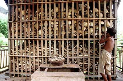 Bones gathered from the Killing Fields.