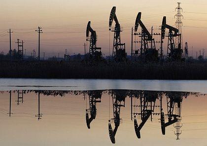 PetroChina pump jacks at an oil field in China's northeastern Heilongjiang province