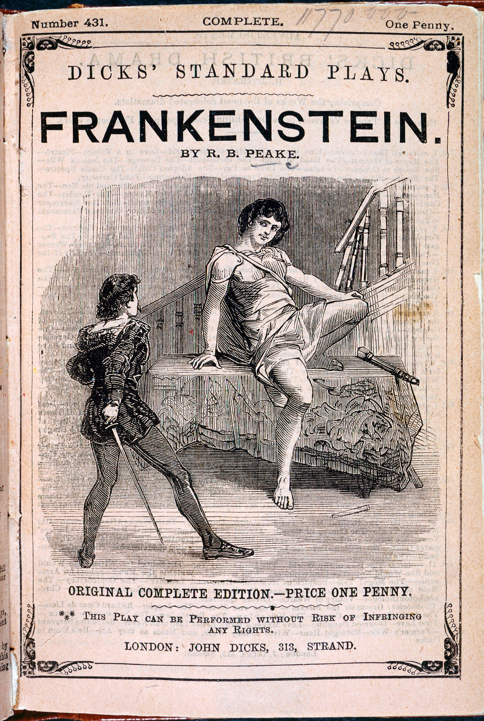 FRANKENSTEIN Couverture d une publication reprenant en piece de theatre le fameux roman de Mary SHELLEY FRANKENSTEIN, au