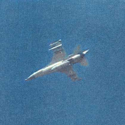 An Israeli F-16 buzzes the German ship Alster last Tuesday.