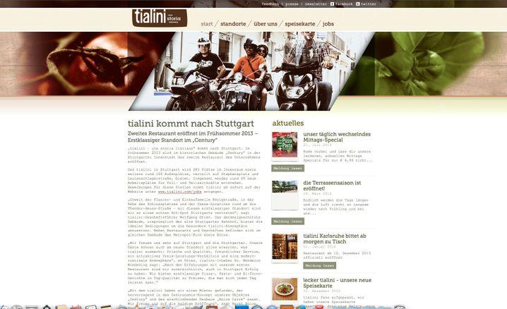 """Website von tialini: """"Täglich wechselndes Mittags-Special"""""""