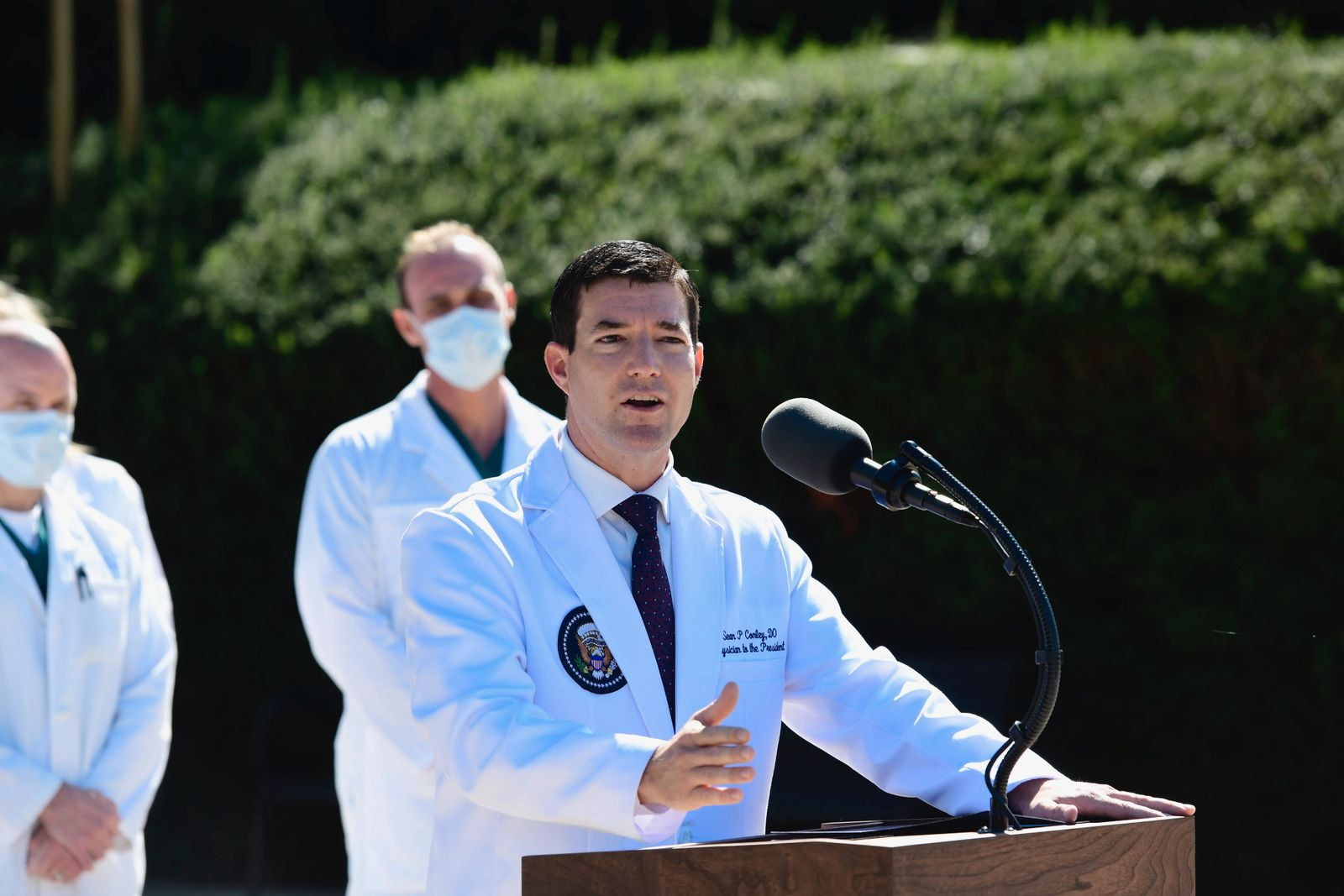 CDR Sean P. Conley, MD, Physician to the President, provided an update on the condition of United States President Donal