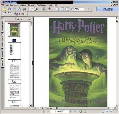 """Wie echt, aber raubkopiert: Im Netz verfügbare PDF-Version des sechsten """"Harry Potter""""-Bands"""